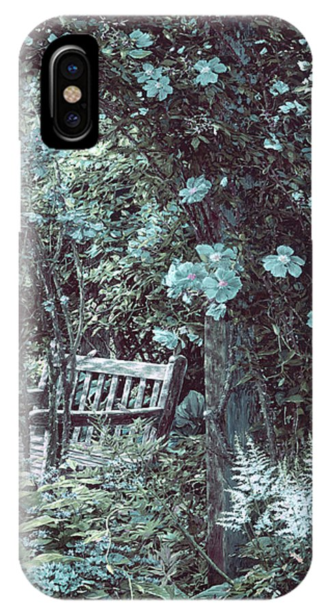 IPhone X Case featuring the painting Turquoise Muted Garden Respite by Doug Kreuger