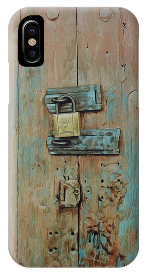 Hyperrealism IPhone X Case featuring the painting Turquoise Turning Pink by Michael Earney