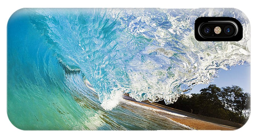 Aqua IPhone X Case featuring the photograph Turquoise Wave Tube by MakenaStockMedia