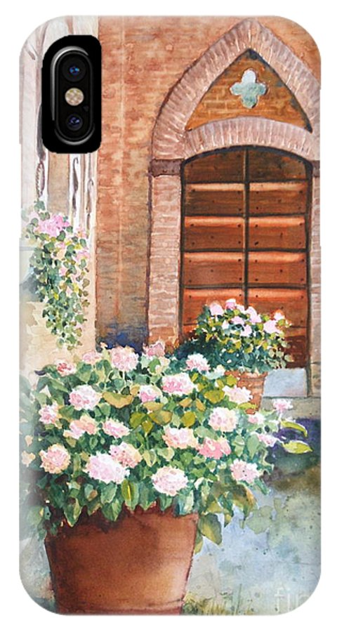 Tuscan IPhone X Case featuring the painting Tuscan Courtyard by Ann Cockerill