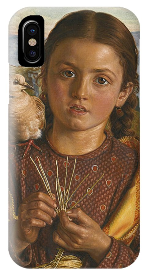 William Holman Hunt 1827 - 1910 Tuscan Girl Plaiting Straw IPhone X Case featuring the painting Tuscan Girl Plaiting Straw by MotionAge Designs