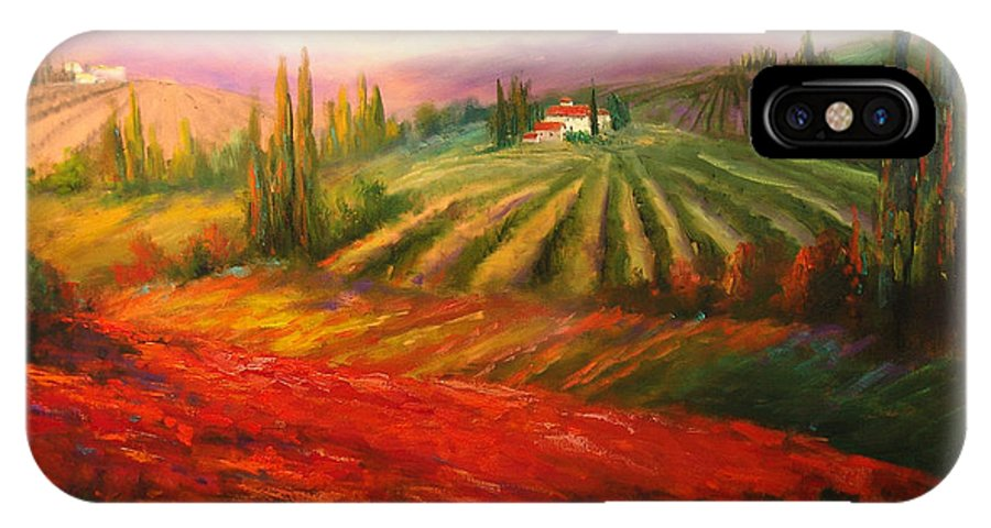 Vineyards IPhone X Case featuring the painting Tuscan Poppies by Sally Seago