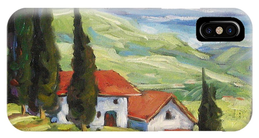 Tuscan IPhone X Case featuring the painting Tuscan Villas by Richard T Pranke