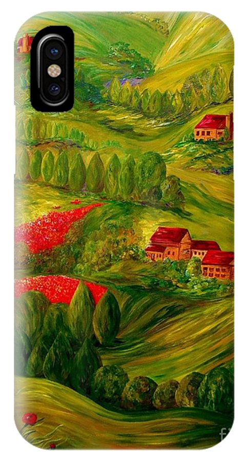 Tuscany IPhone X Case featuring the painting Tuscany At Dawn by Eloise Schneider