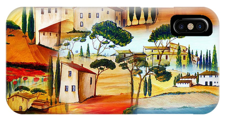 Tuscany IPhone X Case featuring the painting Tuscany Collage by Christine Huwer
