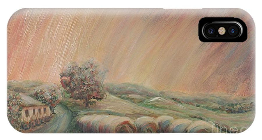 Landscape IPhone X Case featuring the painting Tuscany Hayfields by Nadine Rippelmeyer