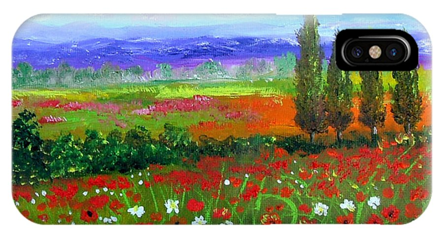 Tuscany IPhone X Case featuring the painting Tuscany Poppies Field by Inna Montano
