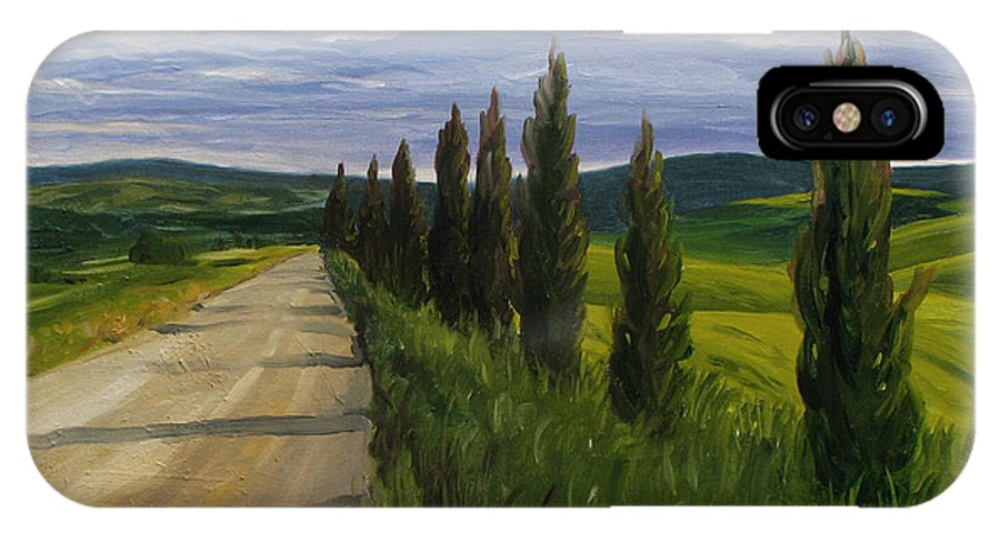 IPhone Case featuring the painting Tuscany Road by Jay Johnson