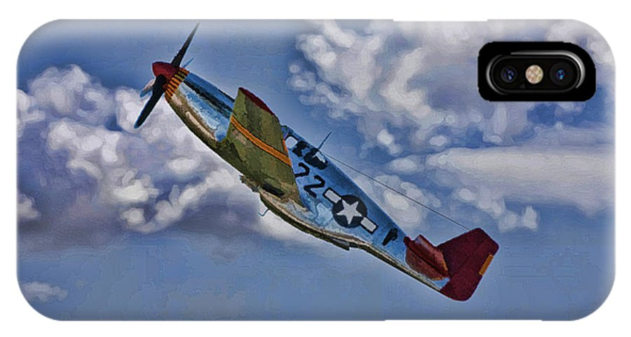 P-51 IPhone X Case featuring the digital art Tuskegee Mustang Red Tail by Tommy Anderson