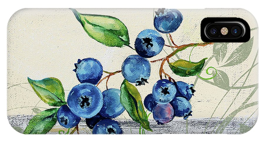 Blueberries IPhone X Case featuring the painting Tutti Fruiti Blueberries by Jean Plout