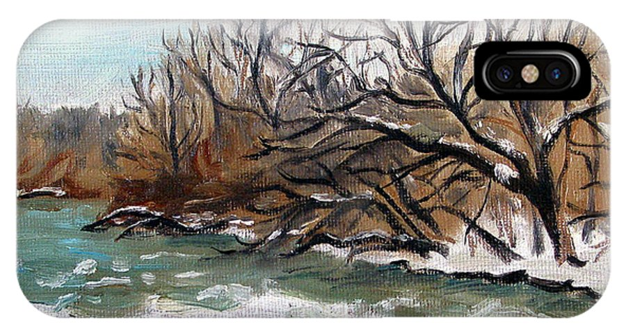 Landscape IPhone X Case featuring the painting Twelve Mile Creek by Sarah Lynch