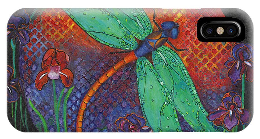 Dragonflies IPhone X Case featuring the painting Twilight Flight by Debbie McCulley