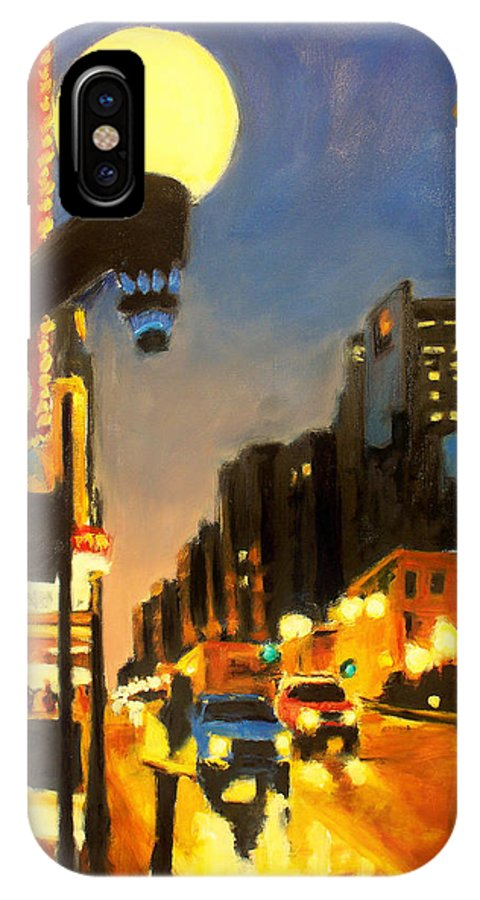 Rob Reeves IPhone Case featuring the painting Twilight In Chicago - The Watcher by Robert Reeves