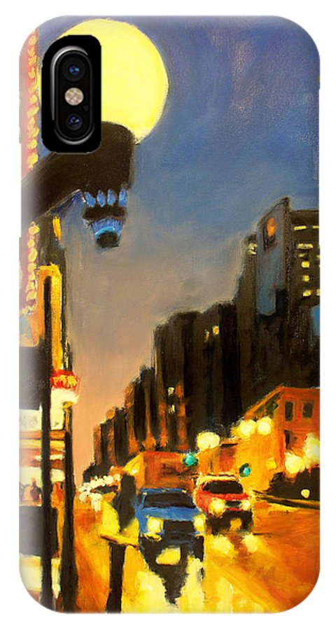 Rob Reeves IPhone X Case featuring the painting Twilight In Chicago - The Watcher by Robert Reeves