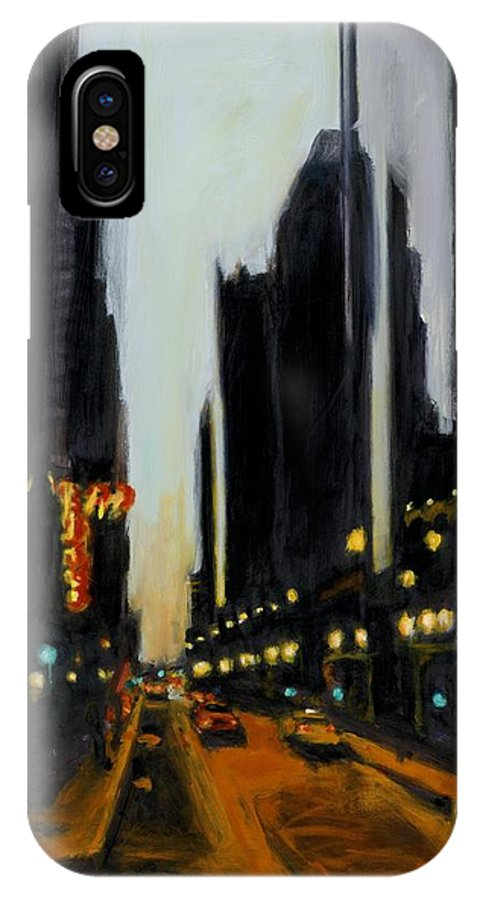 Rob Reeves IPhone Case featuring the painting Twilight In Chicago by Robert Reeves