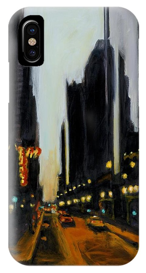 Rob Reeves IPhone X Case featuring the painting Twilight In Chicago by Robert Reeves