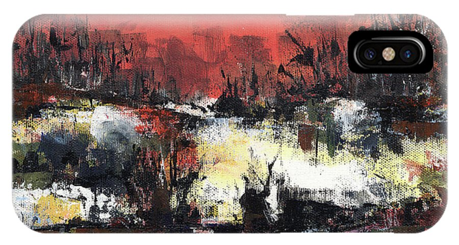 Abstract IPhone Case featuring the painting Twilight Madness by Aniko Hencz
