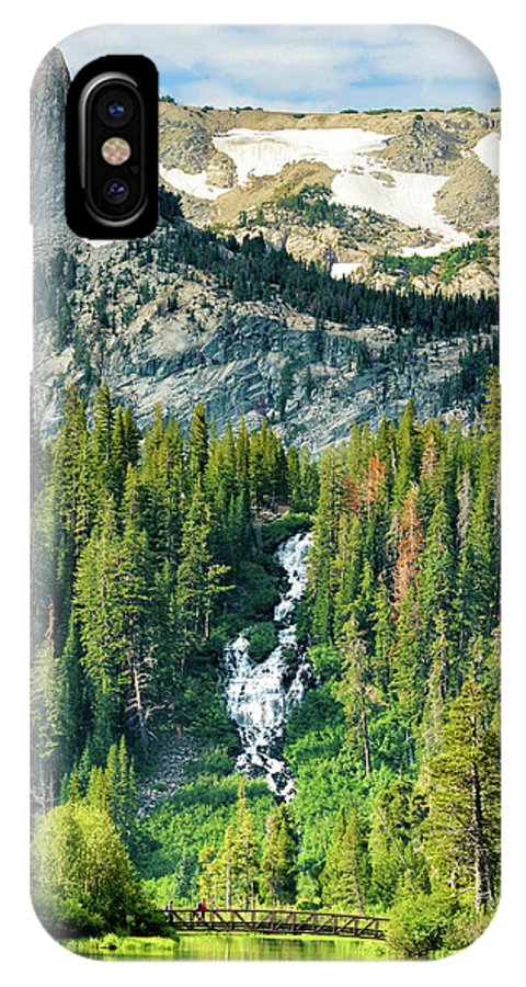 Twin Lakes Waterfall IPhone X Case featuring the photograph Twin Lakes Waterfall by Surjanto Suradji