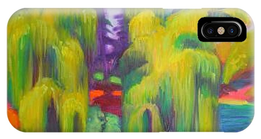 Landscape IPhone X Case featuring the painting Twin Willows Chicago Botanical Gardens by David Dozier
