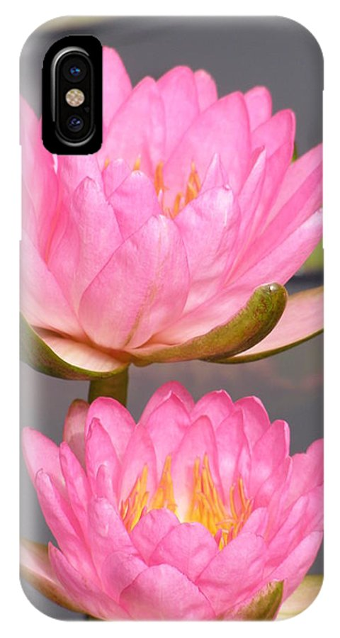 Water Lily IPhone X Case featuring the photograph Twins In Pink by Larry Lacy