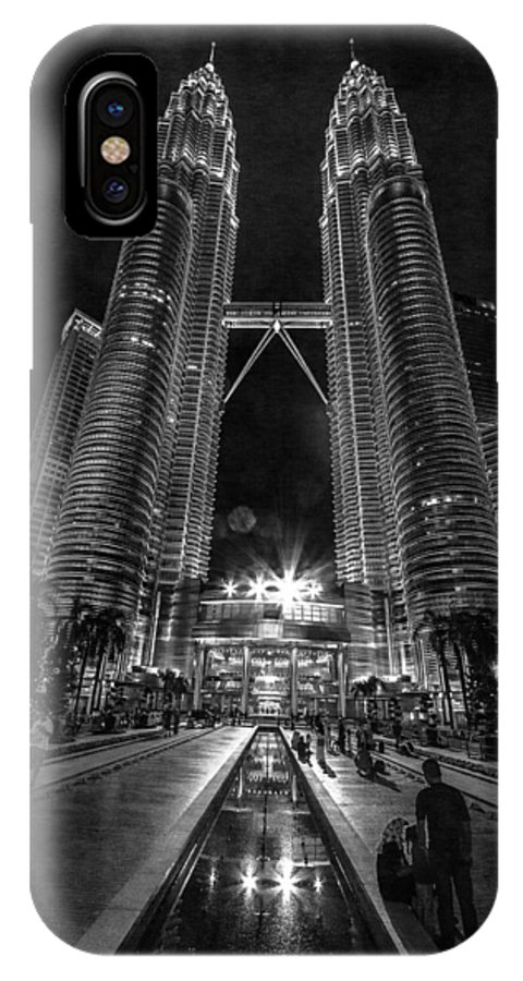Kuala Lumpur IPhone X Case featuring the pyrography Twintowers At Night by Peteris Vaivars