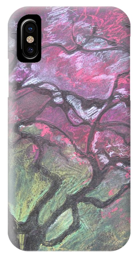 Pastel IPhone Case featuring the drawing Twisted Cherry by Leah Tomaino