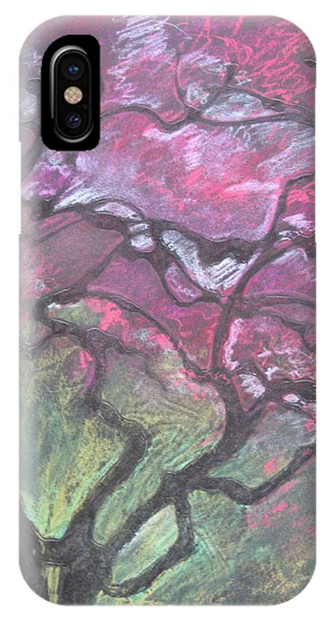 Pastel IPhone X Case featuring the drawing Twisted Cherry by Leah Tomaino