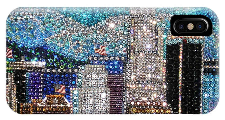 Los Angeles IPhone X Case featuring the painting Los Angeles. Rhinestone Mosaic Beadwork Mix by Sofia Metal Queen
