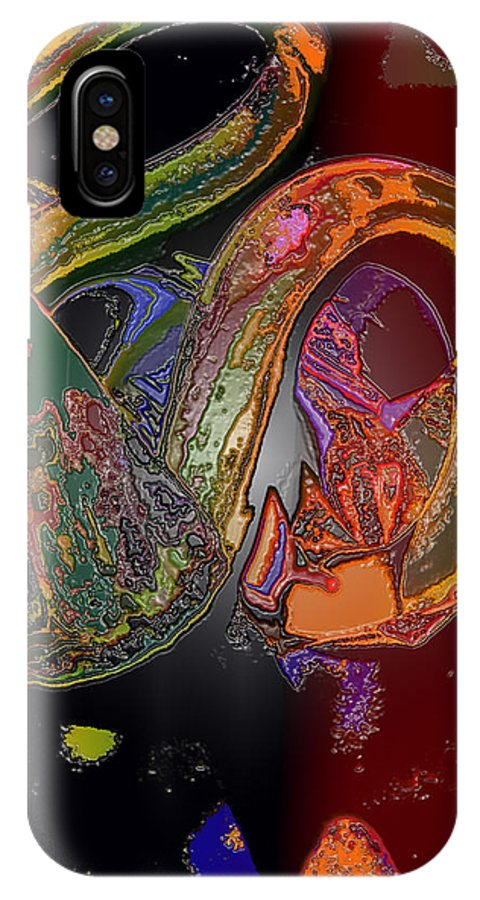 Abstract IPhone X Case featuring the digital art Twisted Wrapped by Ian MacDonald