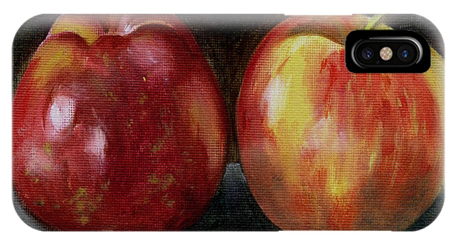 Oil IPhone Case featuring the painting Two Apples by Sarah Lynch