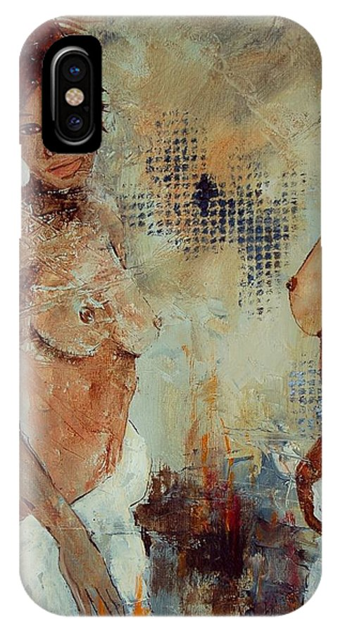 Girl Nude IPhone X Case featuring the painting Two Black Sisters by Pol Ledent