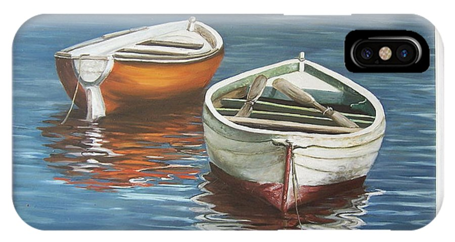 Boats Reflection Seascape Water Boat Sea Ocean IPhone X Case featuring the painting Two Boats by Natalia Tejera