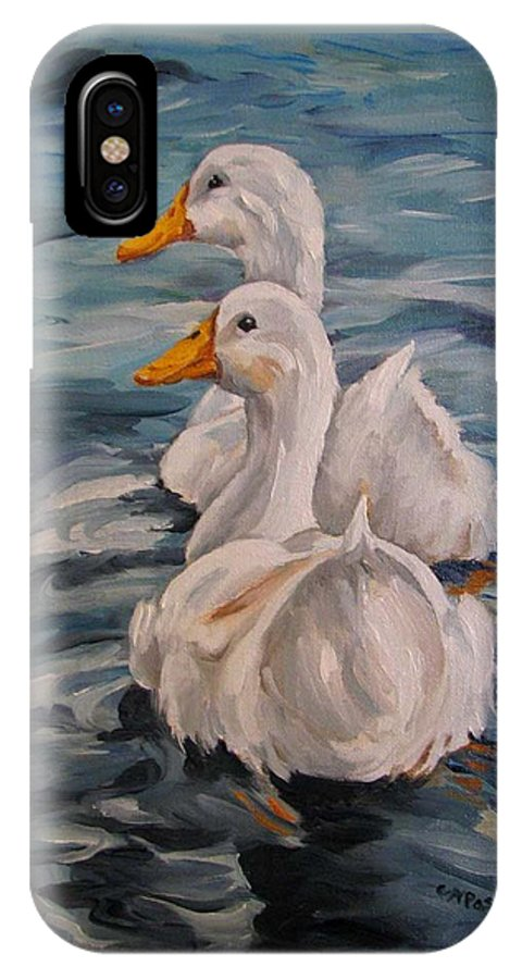 White Ducks IPhone X Case featuring the painting Two By Two by Cheryl Pass