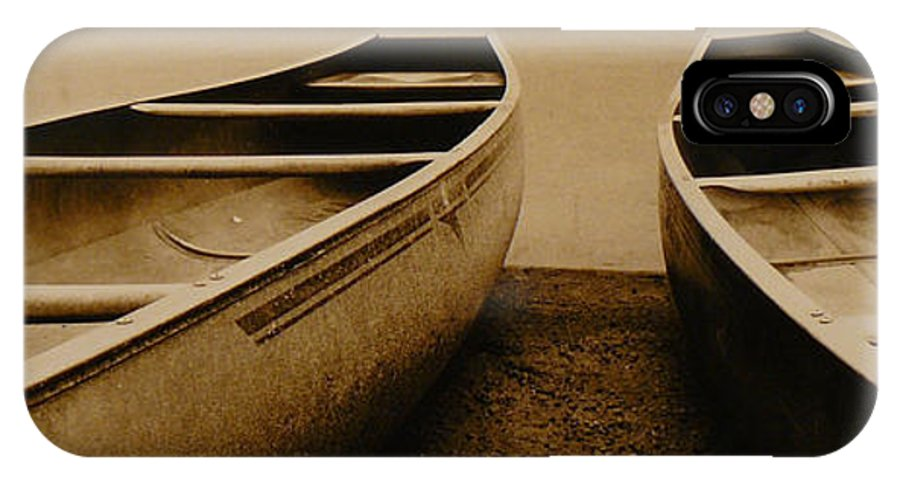 Canoes IPhone X Case featuring the photograph Two Canoes by Jack Paolini