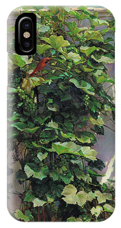 American IPhone X Case featuring the painting Two Cardinals On The Vine Tree by Svitozar Nenyuk