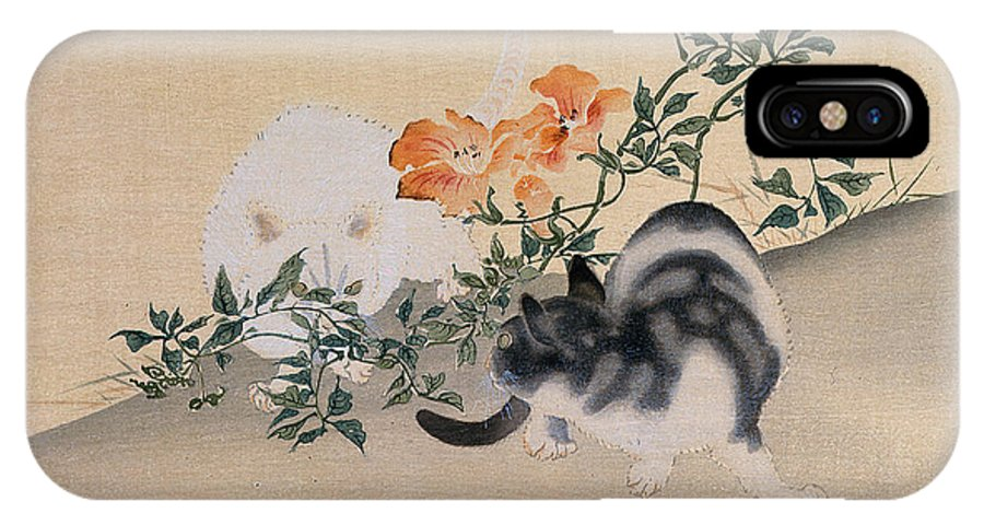 Black; White; Stripes; Striped; Hibiscus; Flower; Flowers; Chat; Chats; Asian; Oriental; Animal IPhone X Case featuring the painting Two Cats by Japanese School