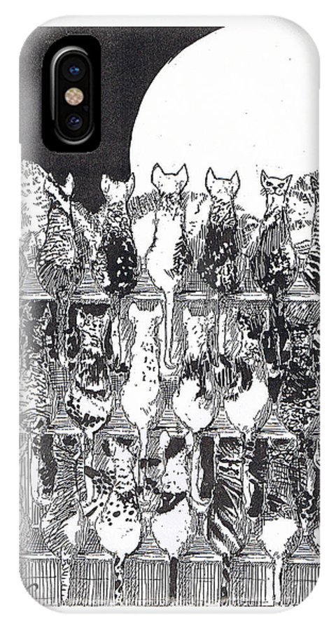 Cats IPhone X Case featuring the drawing Two Dozen And One Cats by Seth Weaver