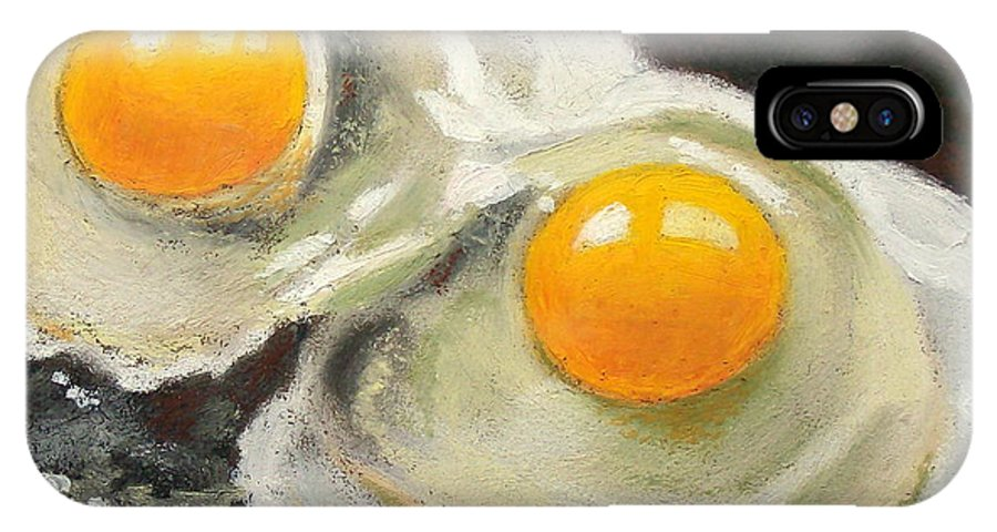Eggs IPhone Case featuring the pastel Two Eggs by Joyce Geleynse