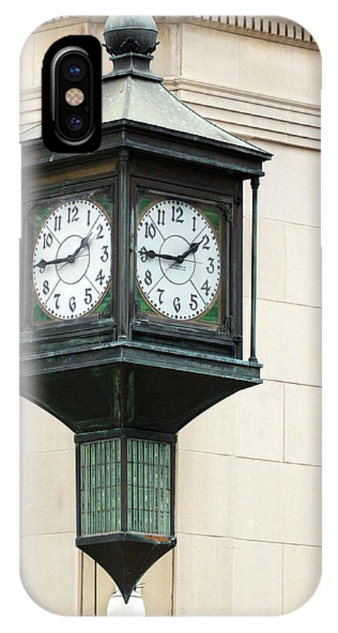 Time Clock Architecture Green Urban City IPhone X Case featuring the photograph Two Faced Time by Jill Reger