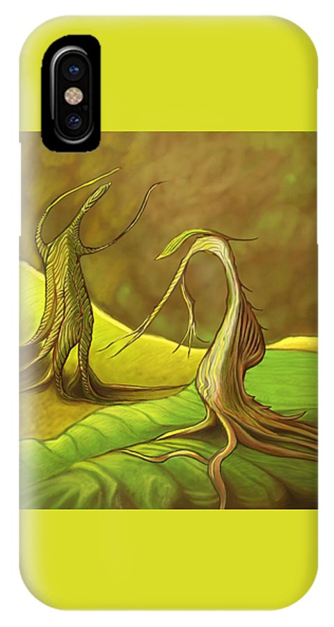 Fantasy IPhone X / XS Case featuring the digital art Two Fantasy Trees by David Michael Schmidt