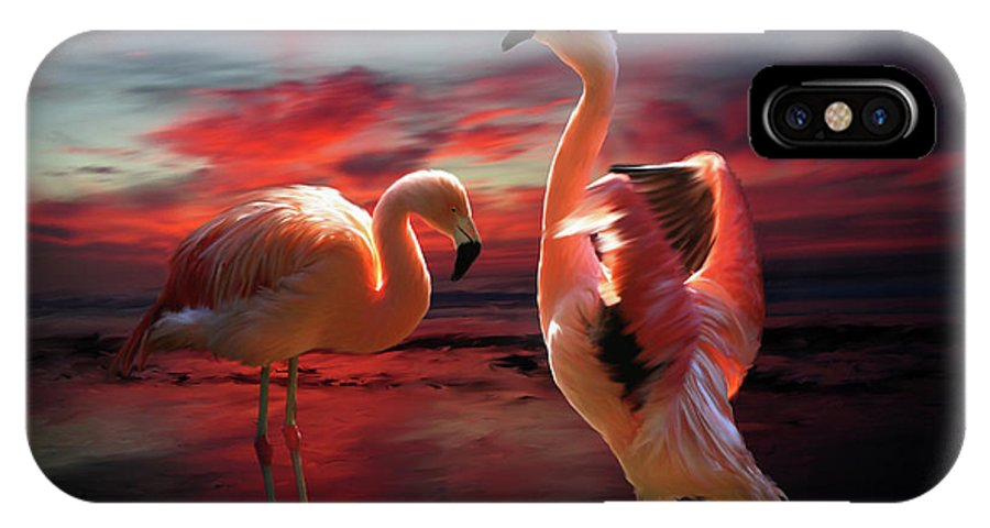 Flamingo IPhone X Case featuring the digital art Two Flamingos by Lisa Redfern