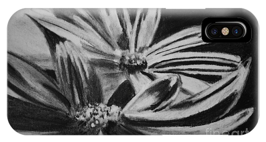 Flowers IPhone X Case featuring the drawing Two Flowers by Regan J Smith