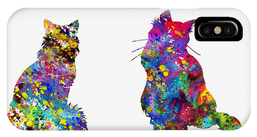 Two Fluffy Cats IPhone X Case featuring the digital art Two Fluffy Cats-colorful by Erzebet S