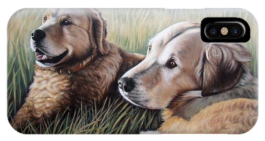Dogs IPhone Case featuring the painting Two Golden Retriever by Nicole Zeug