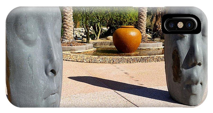 Desert Spring IPhone X Case featuring the photograph Two Heads Are Better Than One - Palm Desert Sculpture Gardens by Brooks Garten Hauschild