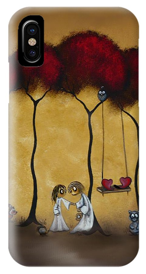 Whimsical Art IPhone X Case featuring the painting Two Hearts by Charlene Zatloukal