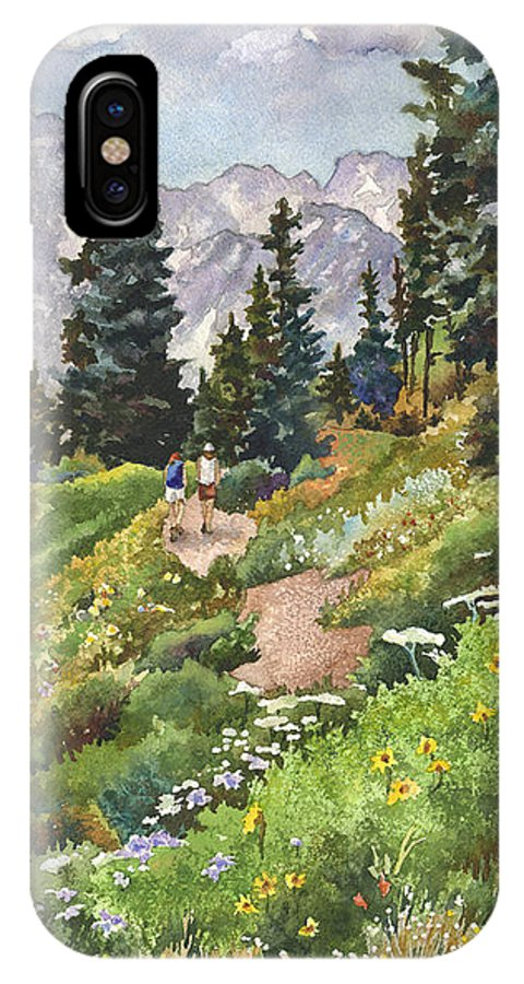 Colorado Hiking Trail Painting IPhone X Case featuring the painting Two Hikers by Anne Gifford