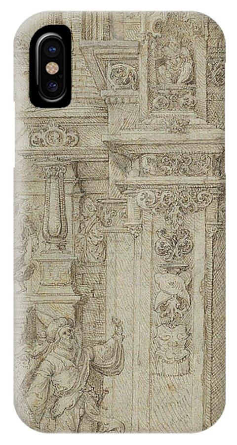 IPhone X Case featuring the drawing Two Kings And A Woman Leaving An Elaborate Palace by Jan Gossaert