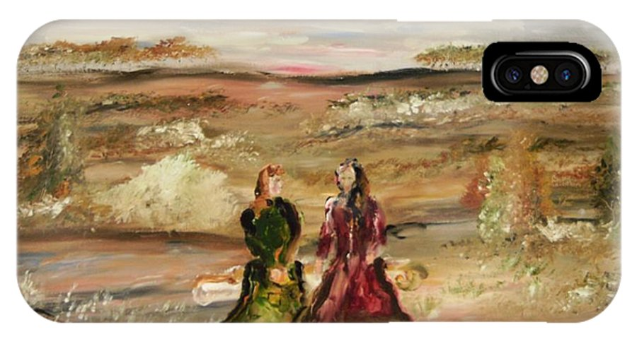 Landscape IPhone X Case featuring the painting Two Ladies In Waiting by Edward Wolverton