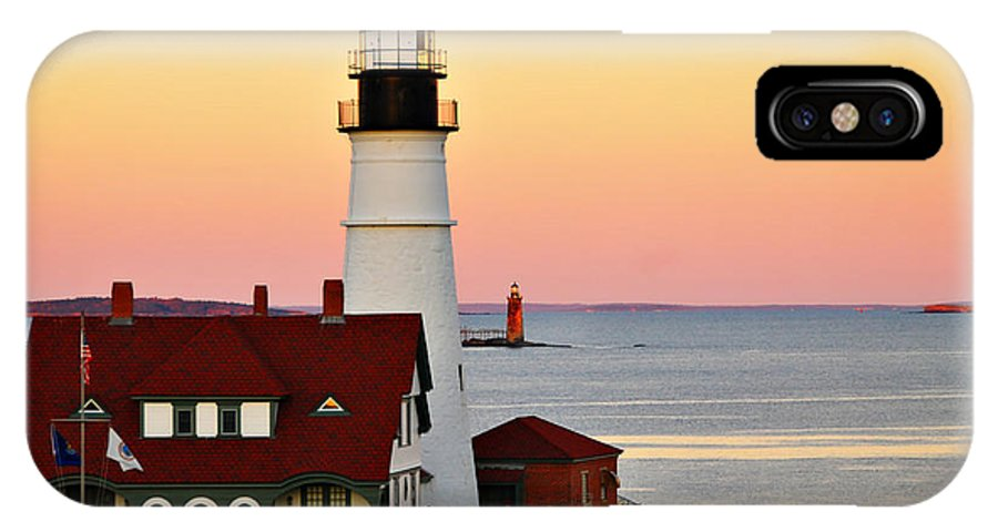 Lighthouse IPhone X Case featuring the photograph Two Lights by Cliff Nixon